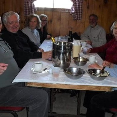 left: husbands of Christiane Longpré and Marie Paradis, Dianne Brind'amour, Laurence Boulerice right: Christiane Longpré, Marie Paradis, Daniel De Ladurantaye (S. Lalonde)