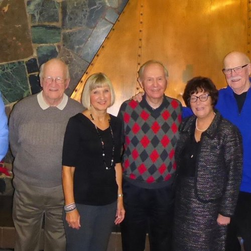 Left to right: Gord MacPherson, Harold Ramsey, Joan Kirouac, John Melymick, Bettie Johnston, Mike Rudkin, Al Brockmeyer